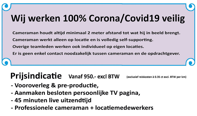 Webversie Corona-veilig met prijsindicatie zakelijk